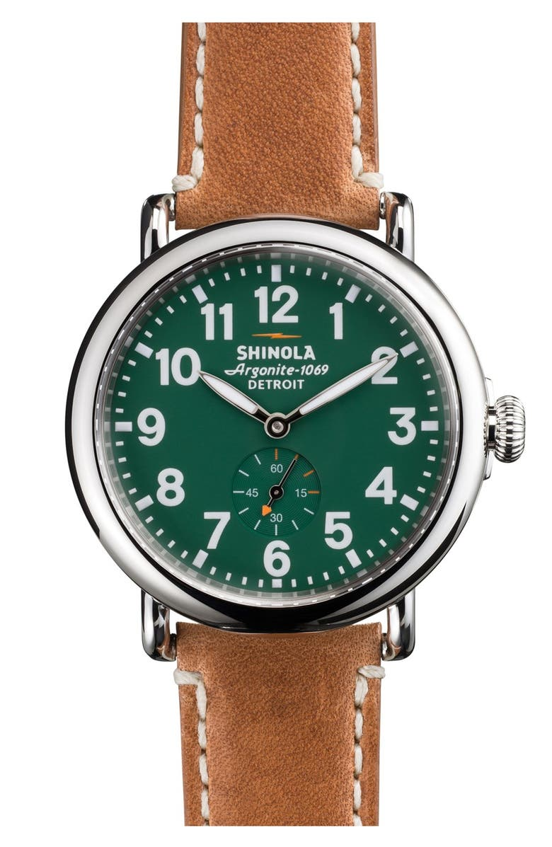 Shinola 'The Runwell' Leather Strap Watch, 41Mm In Brown/ Green