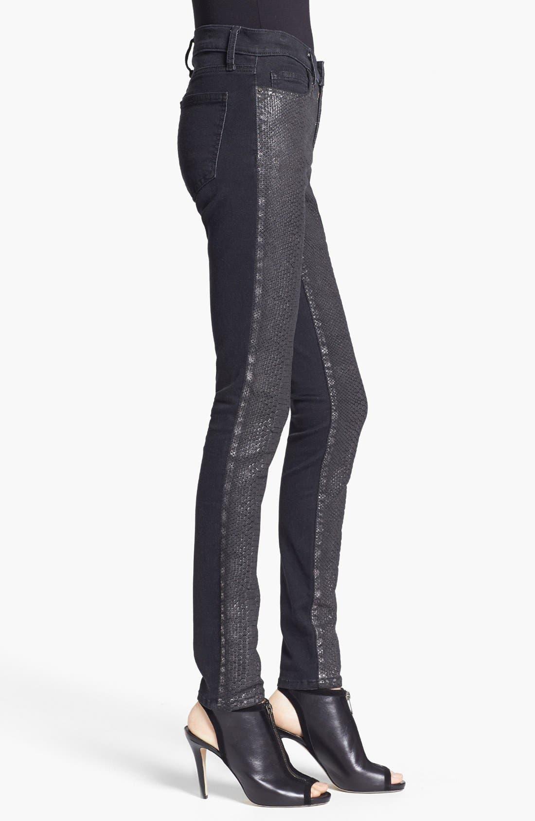 Alternate Image 3  - Current/Elliott 'The Ankle Skinny' Coated Animal Print Jeans