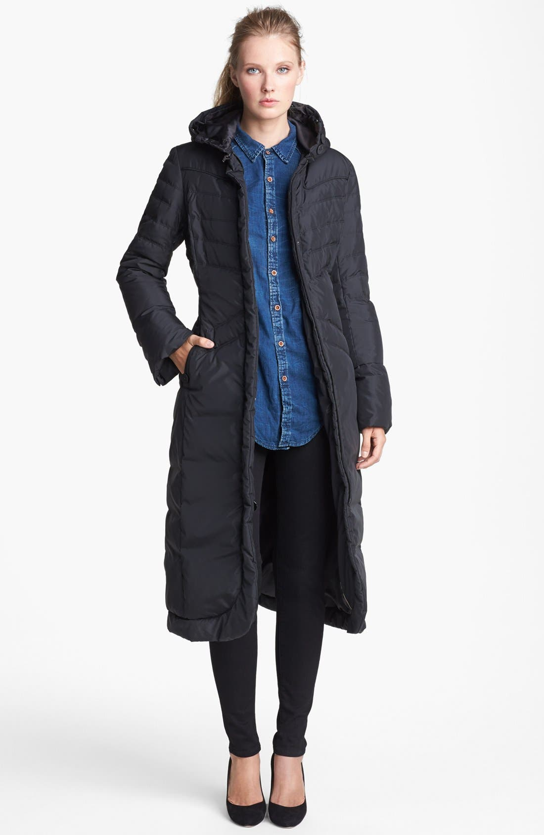 Alternate Image 4  - T Tahari 'Chiara' Genuine Rabbit Fur Trim Long Down Coat
