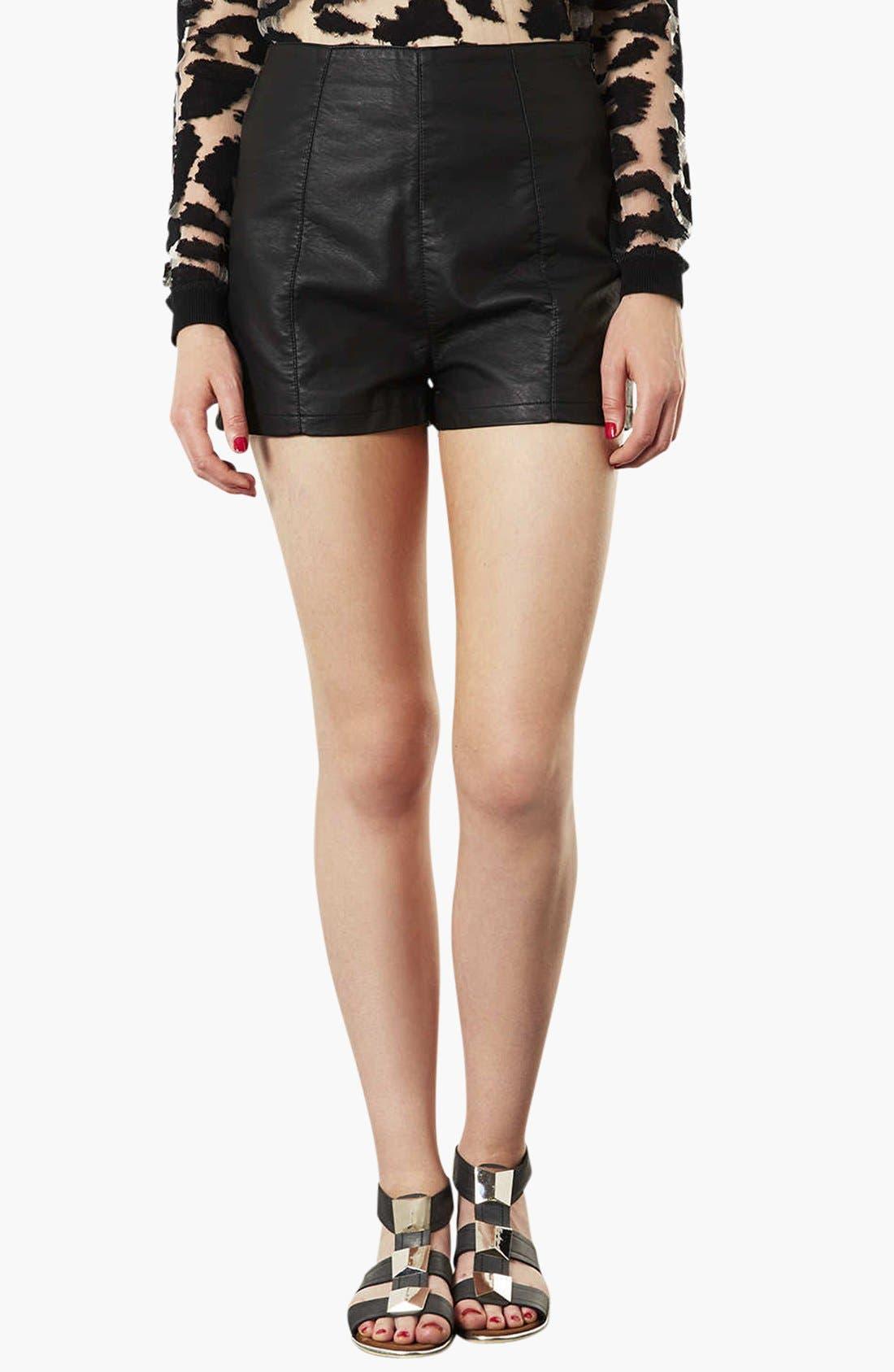 Main Image - Topshop 'Lola' High Waist Faux Leather Shorts