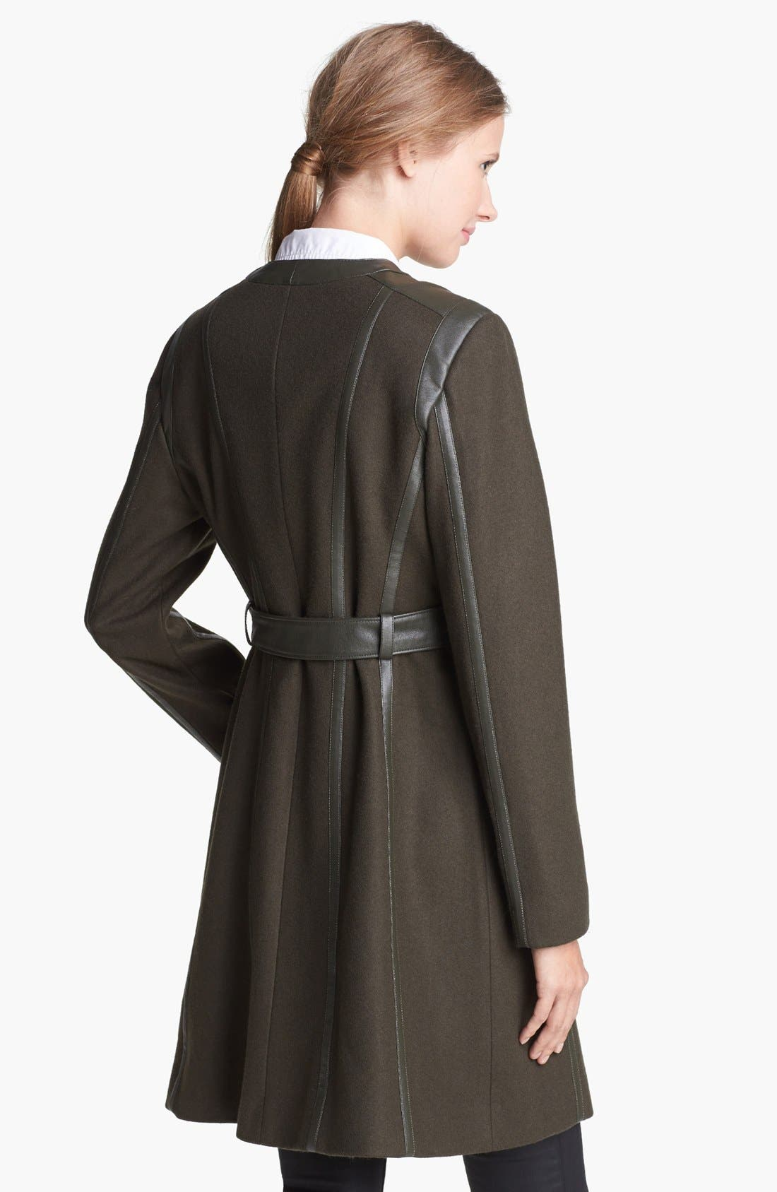 Alternate Image 2  - Vince Camuto Leather Trim Belted Wool Blend Coat