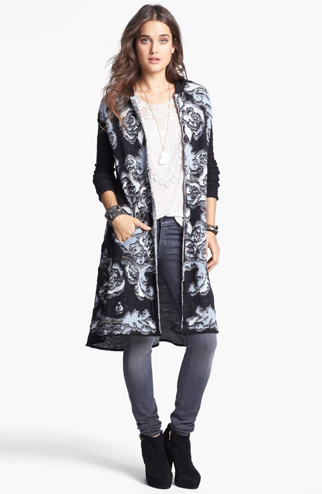 Alternate Image 1 Selected - Free People 'After the Storm' Hooded Cardigan
