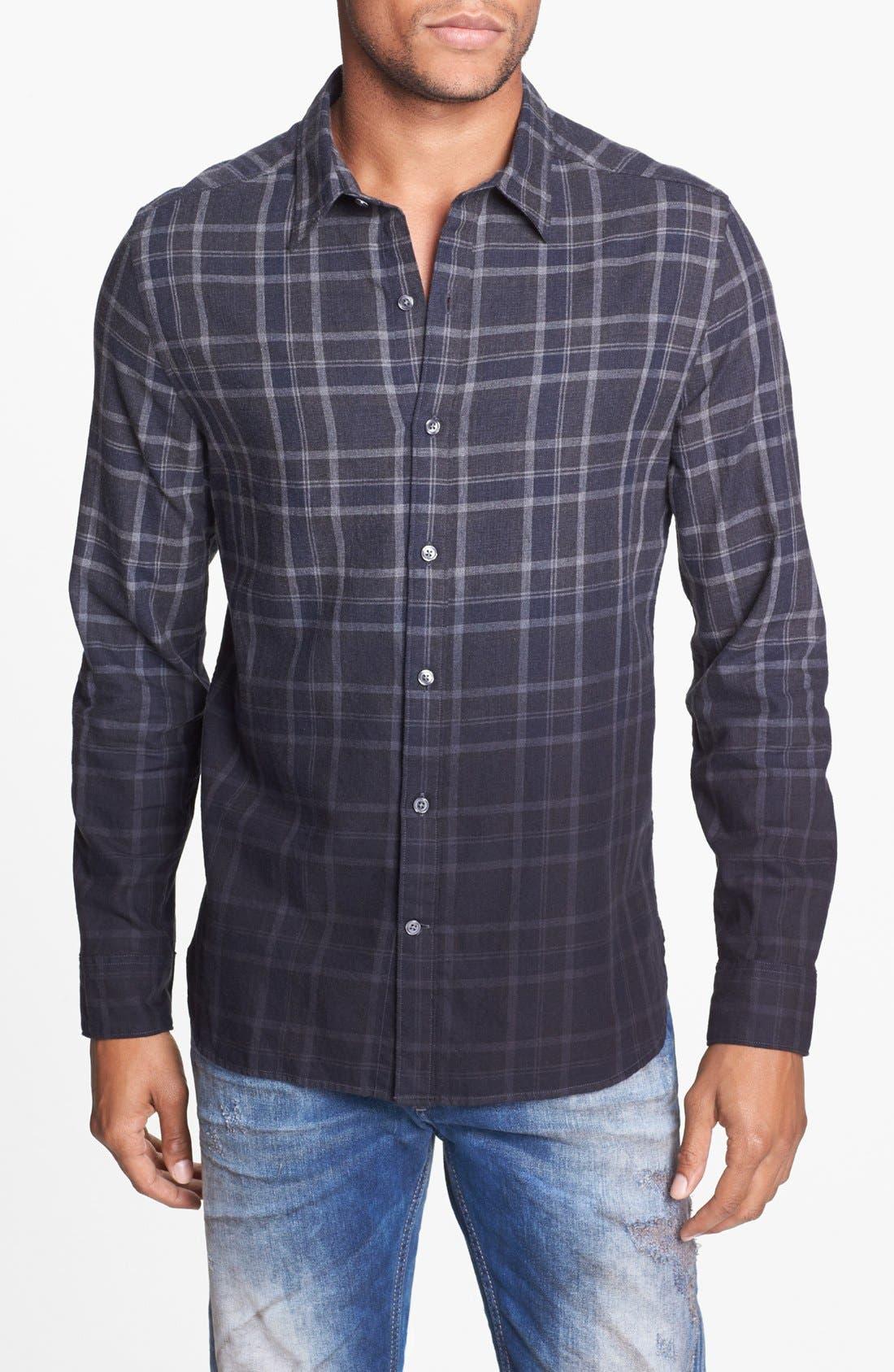 Main Image - Edun Dip Dyed Plaid Shirt