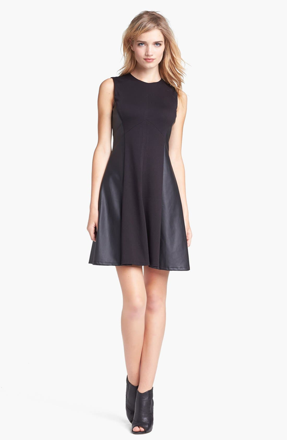 Main Image - Vince Camuto Faux Leather Panel Fit & Flare Dress