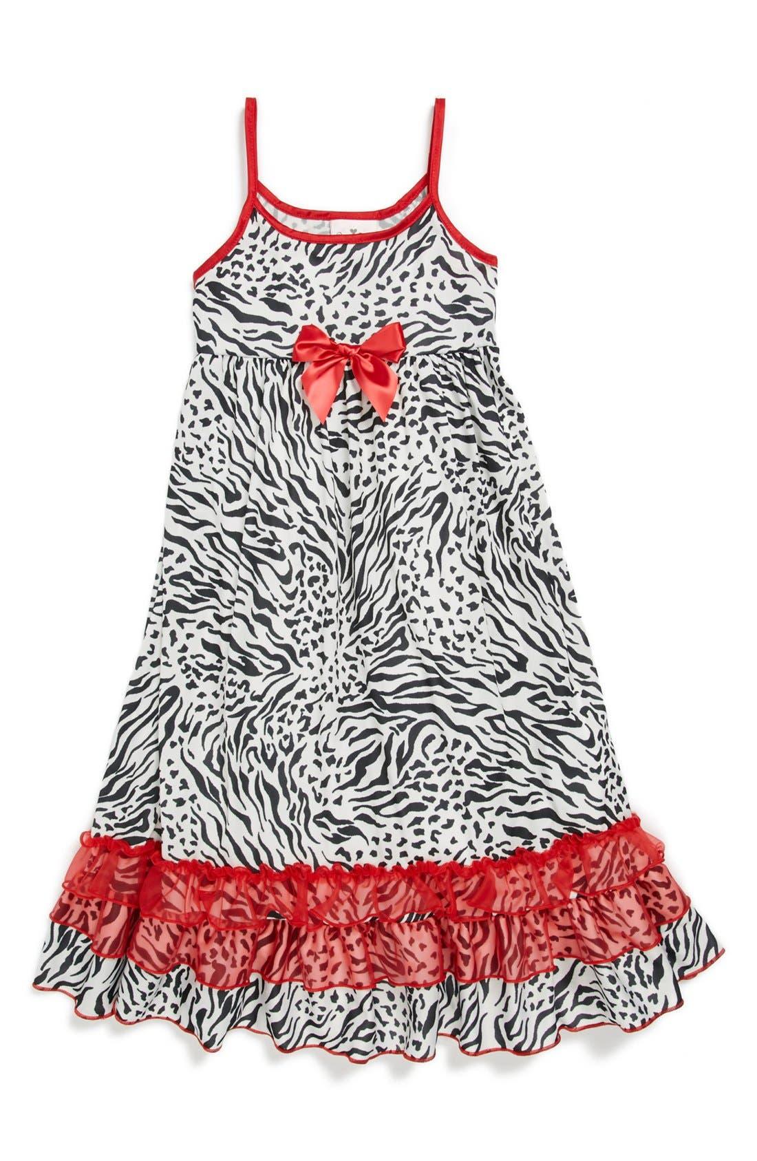Alternate Image 1 Selected - Laura Dare Zebra Print Nightgown (Big Girls)