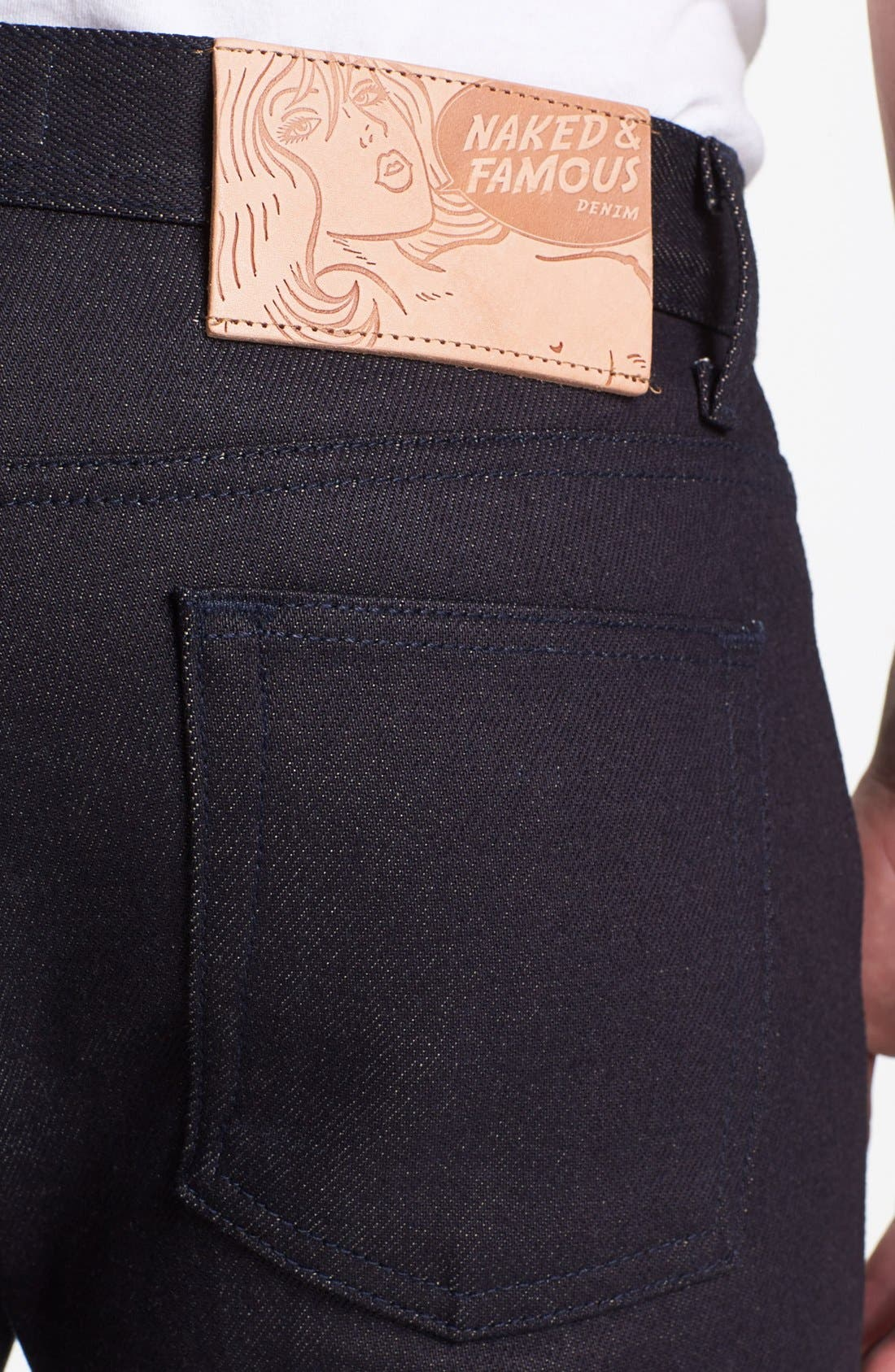 Alternate Image 4  - Naked & Famous Denim 'Weird Guy' Slim Fit Selvedge Jeans (Elephant 3)