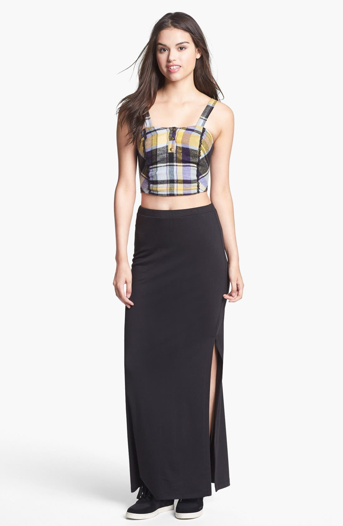 Alternate Image 1 Selected - Lily White Side Slit Maxi Skirt (Juniors)