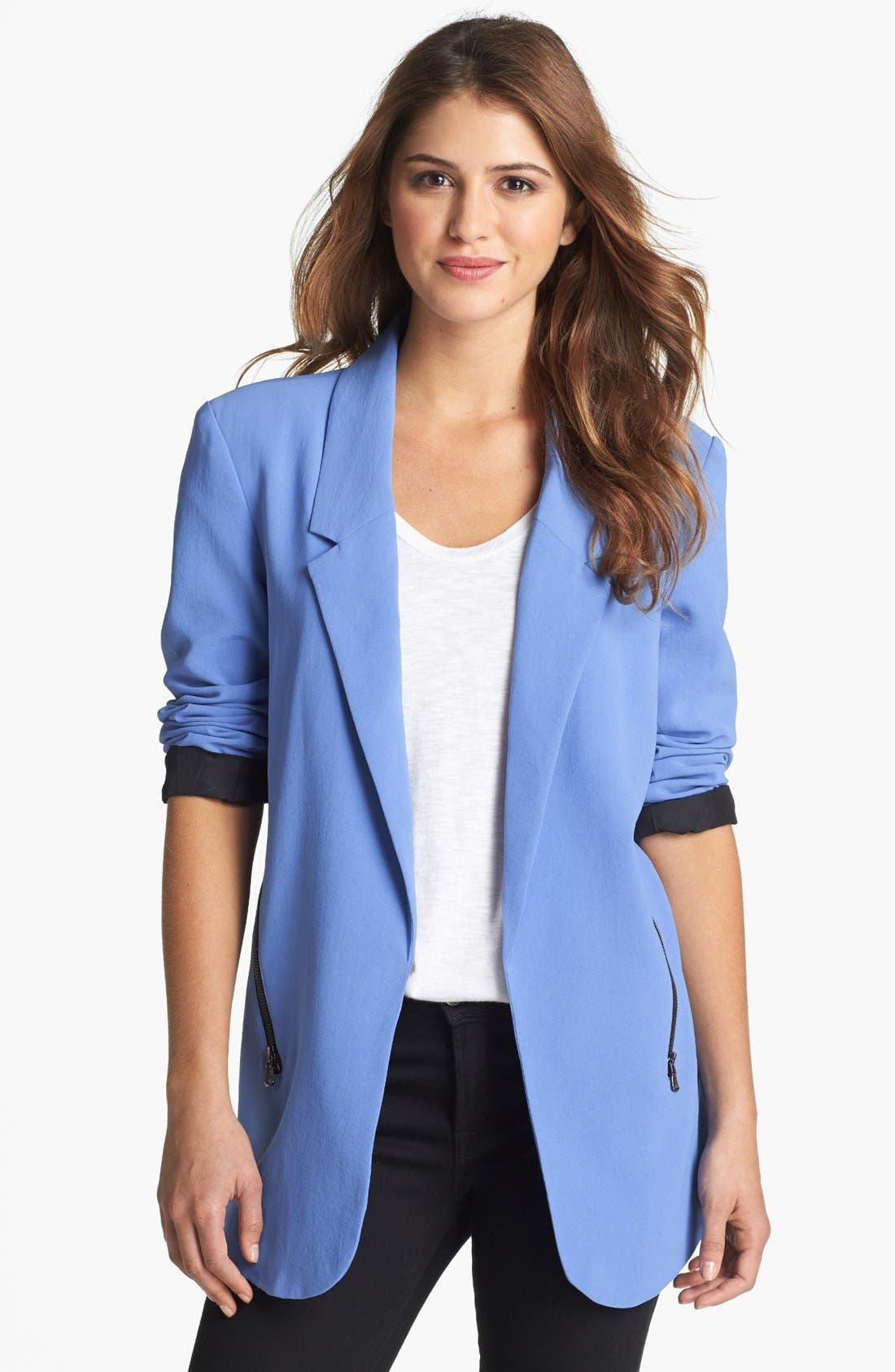 Main Image - Kenneth Cole New York 'Hermia' Zipper Detail Open Front Blazer