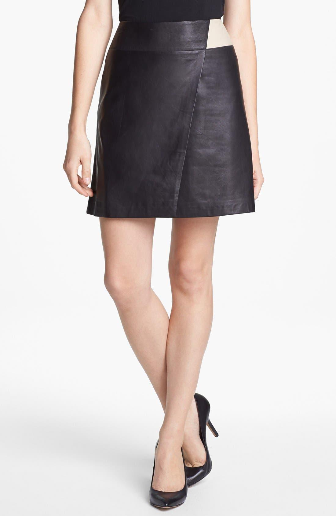 Main Image - Halogen® Colorblock Leather Faux Wrap Skirt