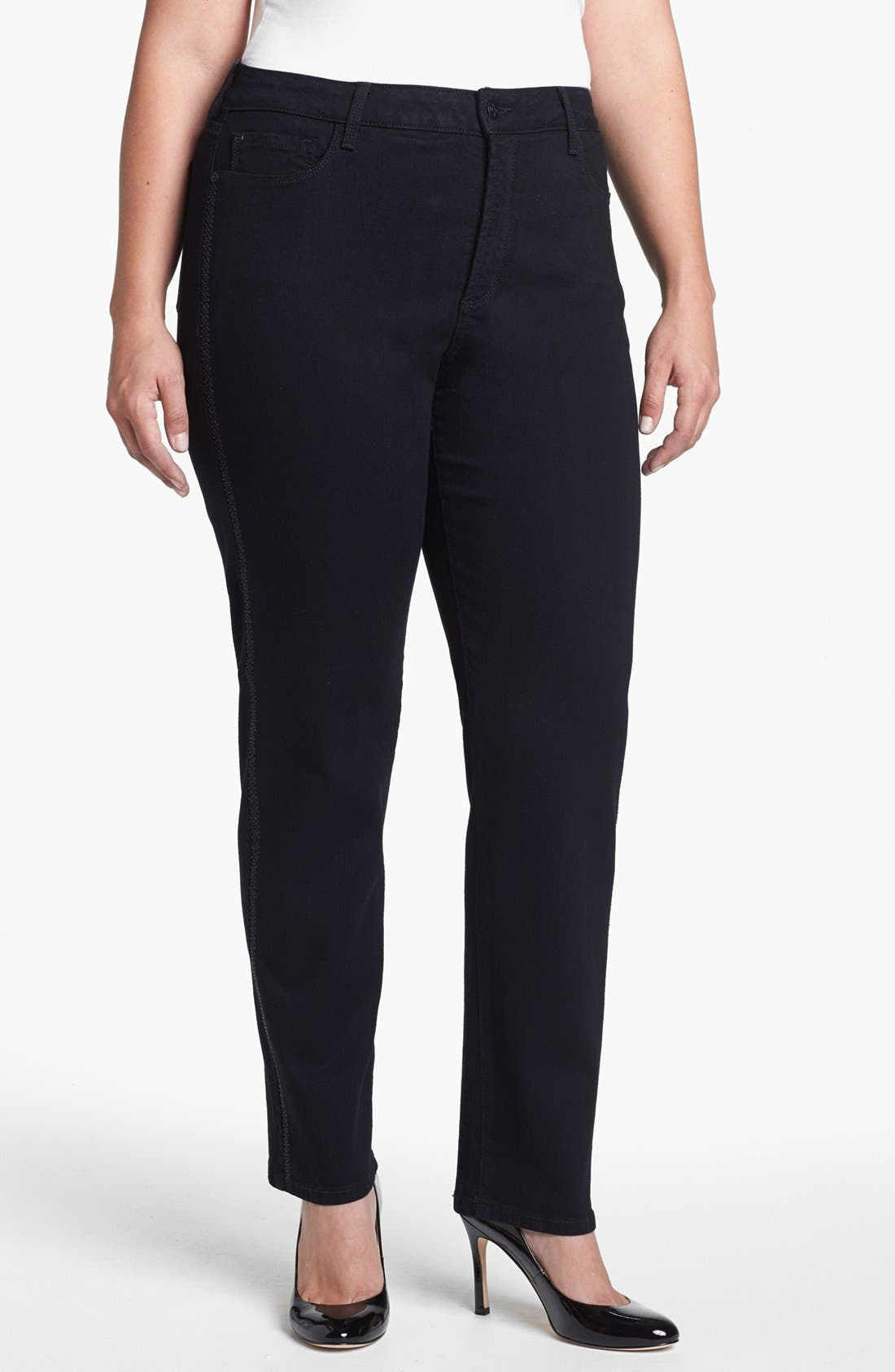 Main Image - NYDJ 'Sheri' Embellished Trim Stretch Skinny Jeans (Plus Size)