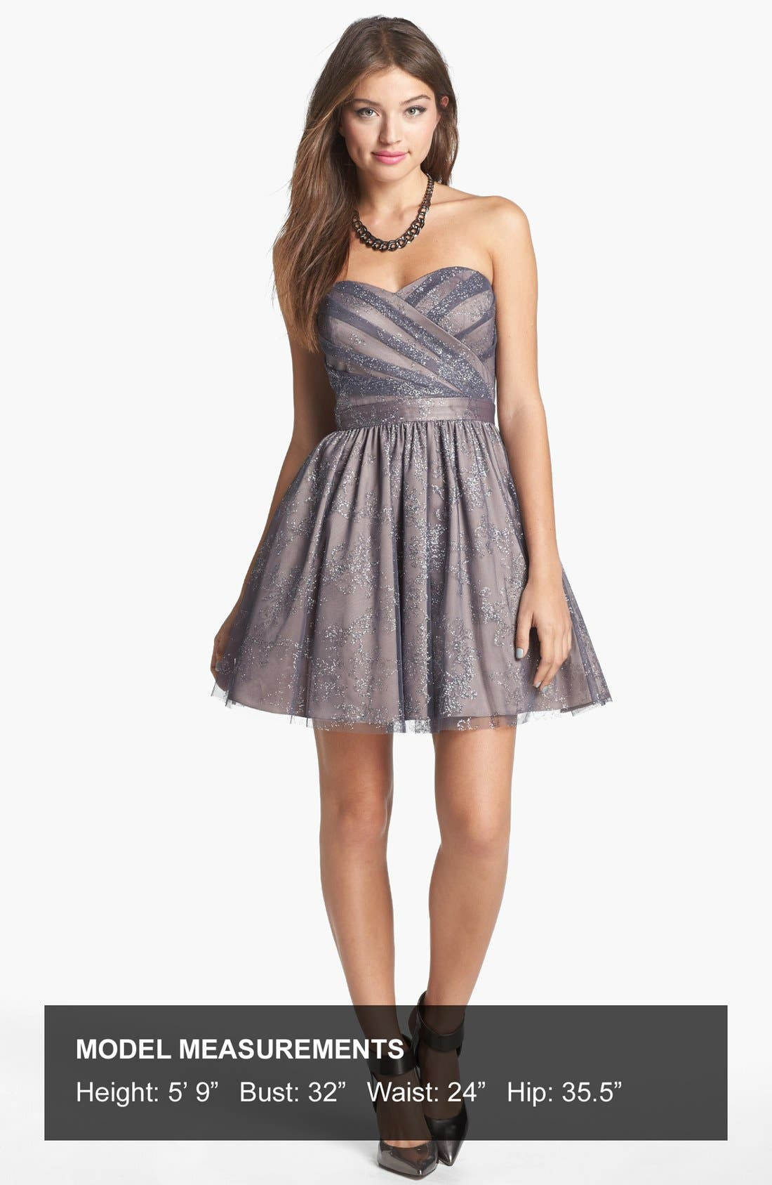 Metallic Mesh Fit & Flare Dress,                             Alternate thumbnail 4, color,                             Taupe