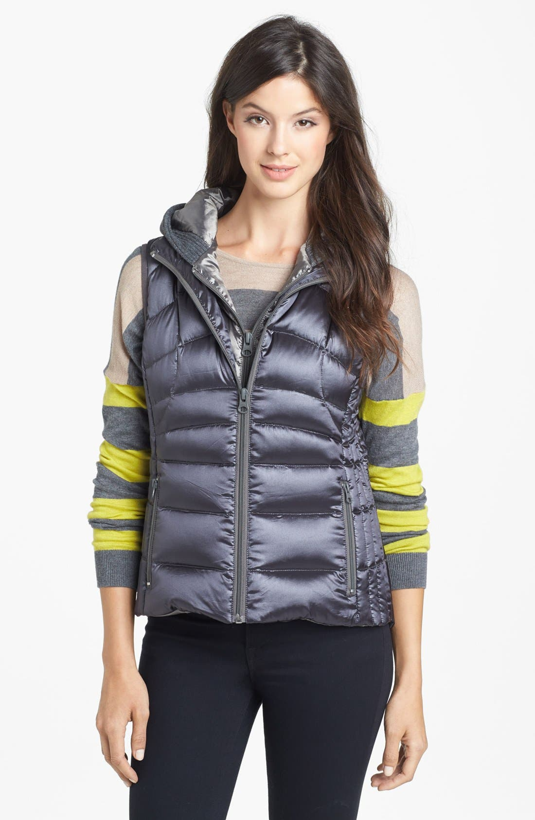 Main Image - Bernardo Hooded Insert Goose Down Vest (Regular & Petite)