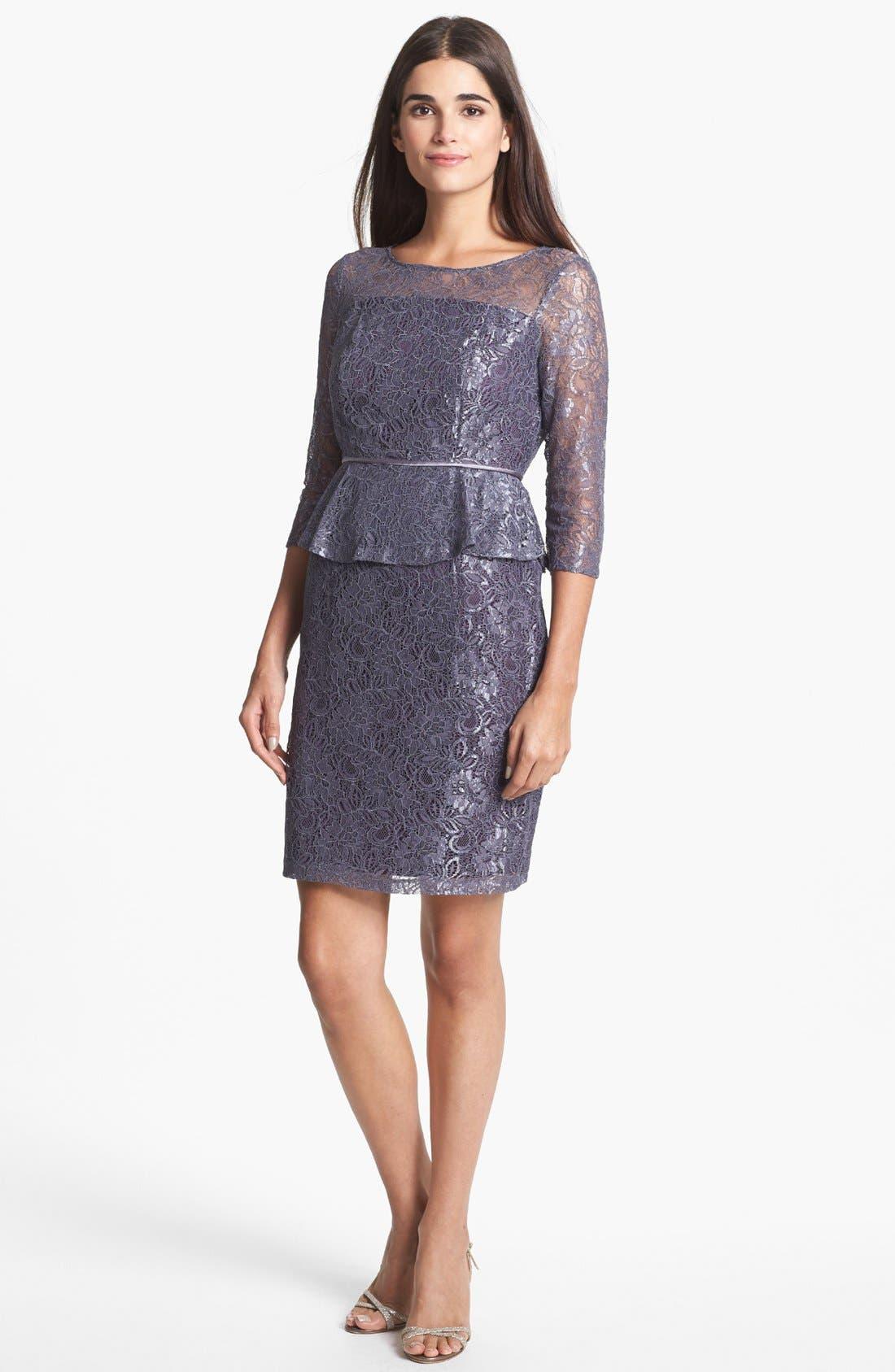 Main Image - Adrianna Papell Lace Peplum Sheath Dress (Petite)