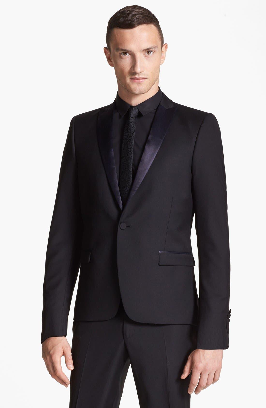 Alternate Image 1 Selected - The Kooples Trim Fit Black Wool Tuxedo Jacket