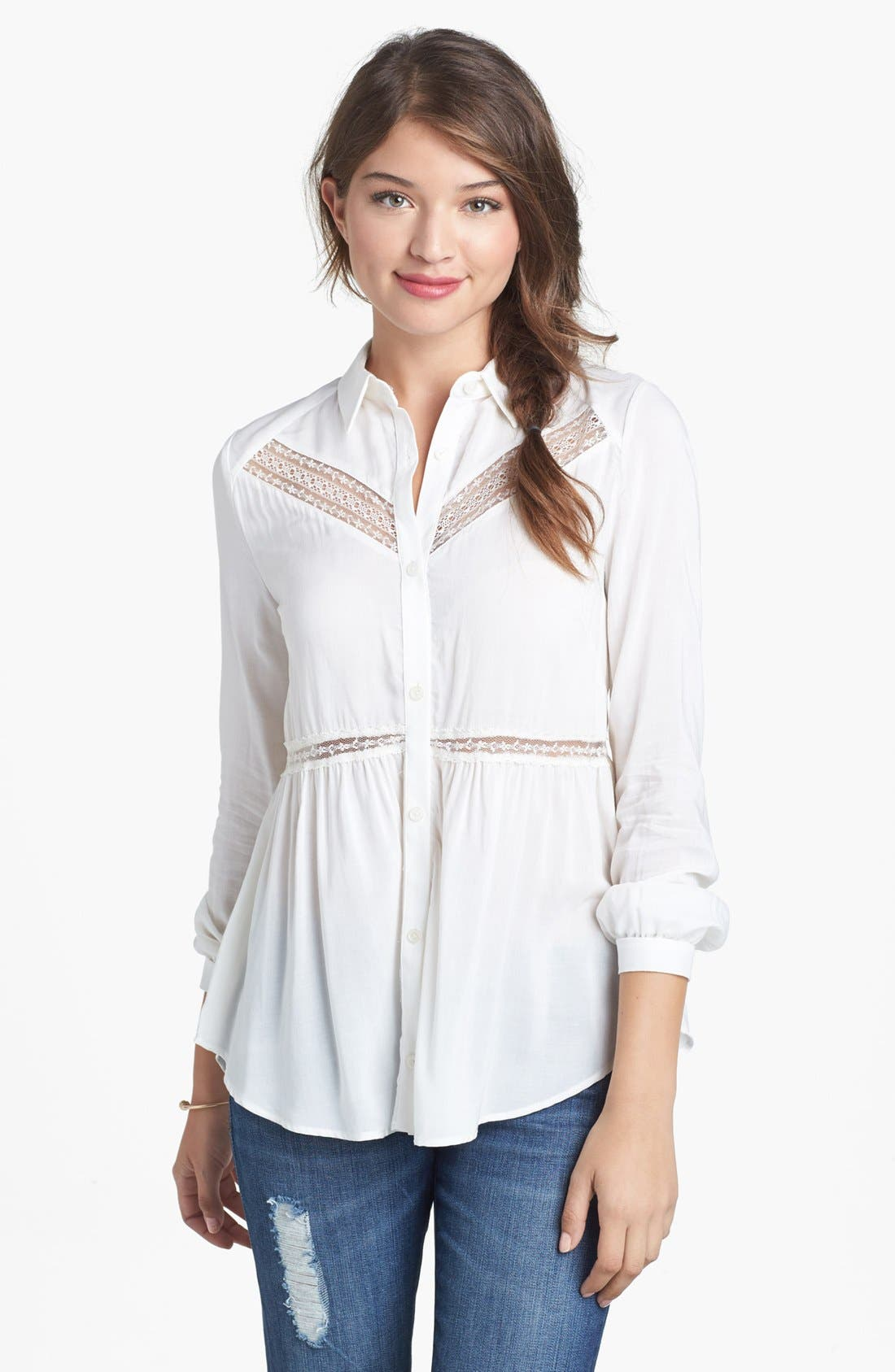 Alternate Image 1 Selected - Lush Lace Trim Shirt (Juniors)