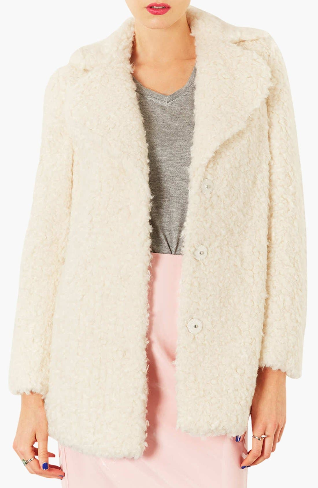 Main Image - Topshop 'Teddy' Faux Fur Peacoat