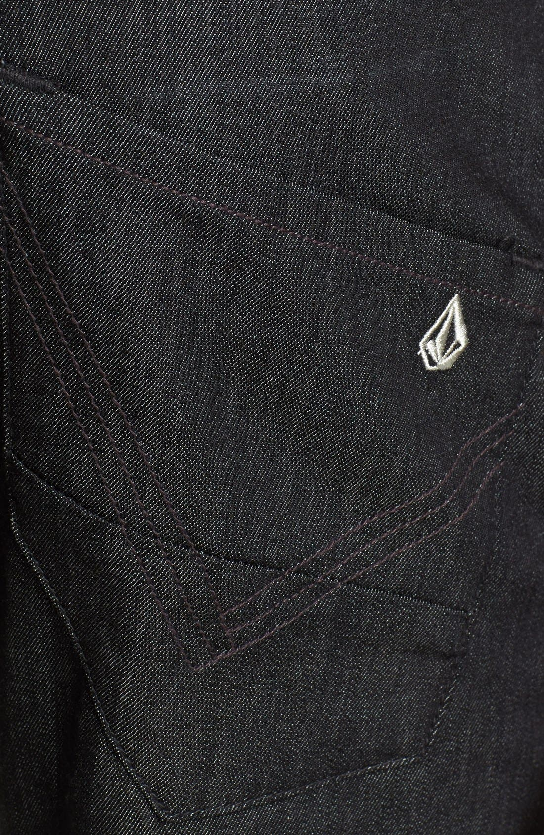 Alternate Image 4  - Volcom 'Nova' Straight Leg Jeans (Dark Black Rinse)