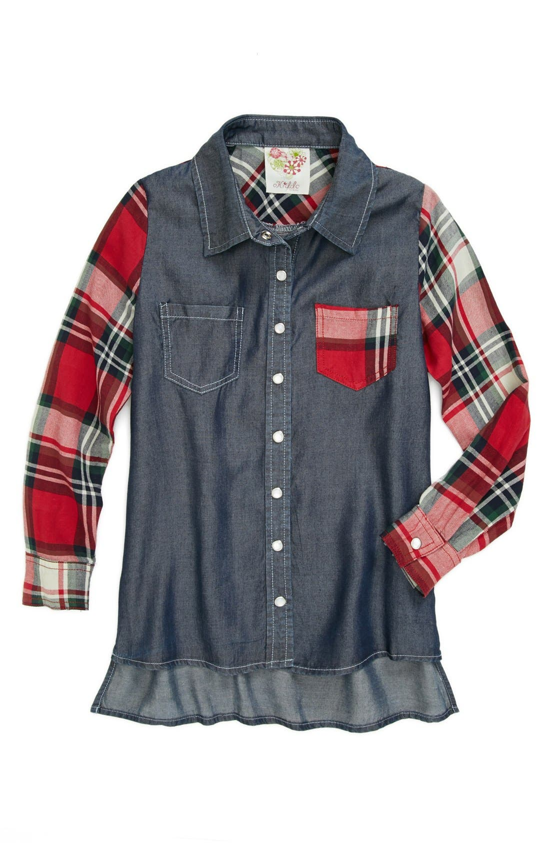 Alternate Image 1 Selected - Kiddo Denim & Plaid Top (Big Girls)