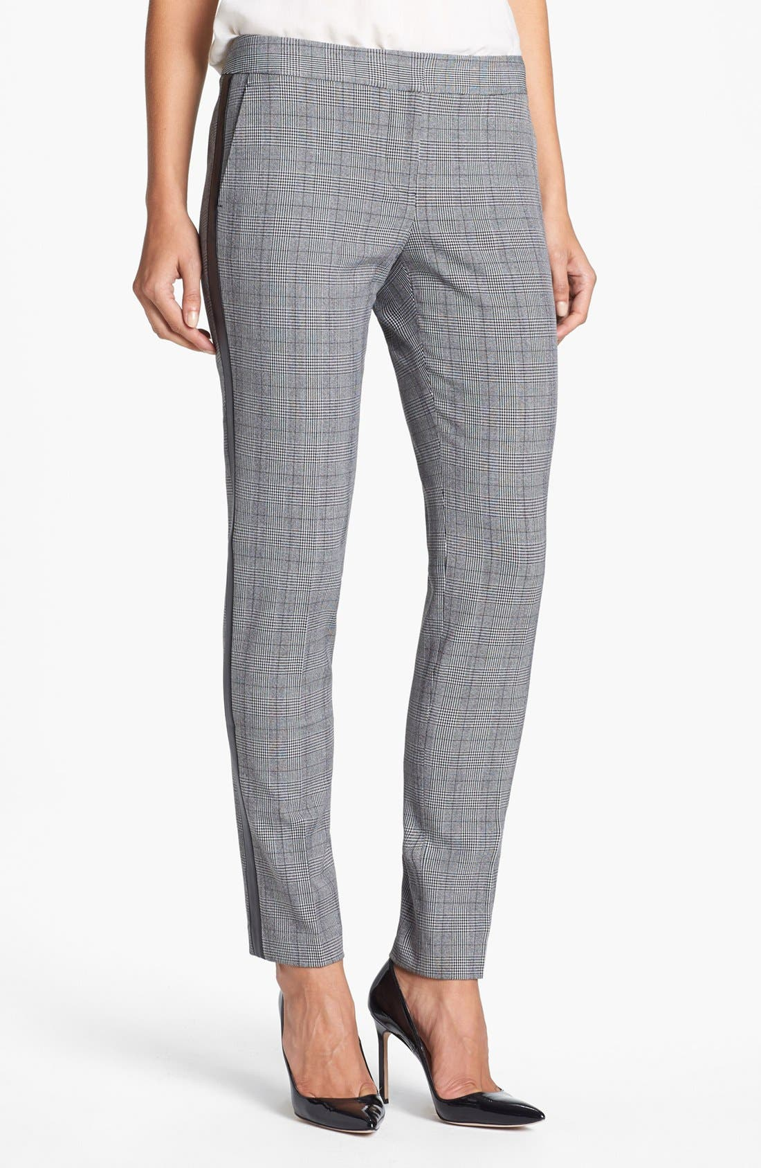 Main Image - Vince Camuto Faux Leather Stripe Glen Plaid Trousers (Online Exclusive)