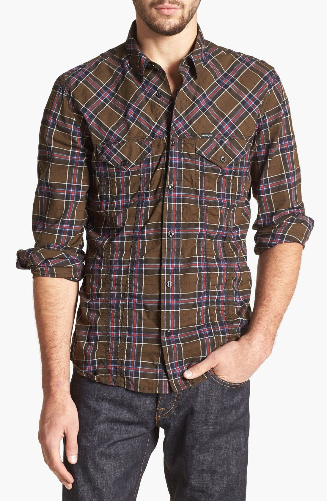 Alternate Image 1 Selected - DIESEL® 'Stulipa' Plaid Shirt