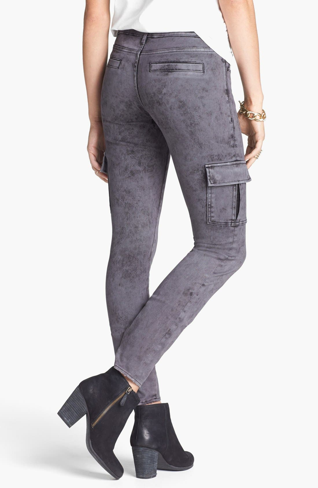 Alternate Image 2  - Articles of Society 'Mya' Acid Washed Cargo Skinny Jeans (Stone) (Juniors)