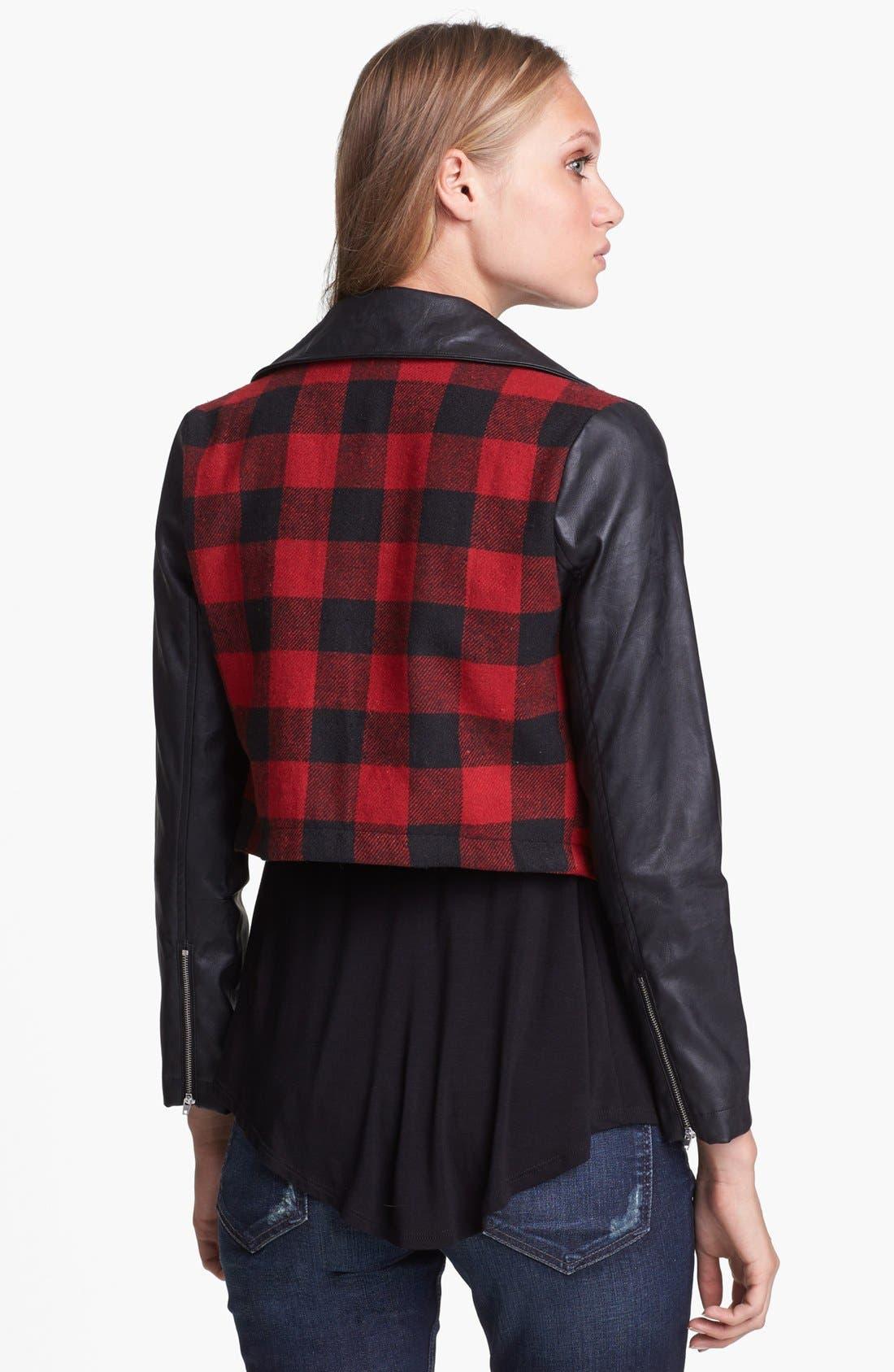 Alternate Image 2  - Like Mynded Buffalo Plaid Crop Jacket