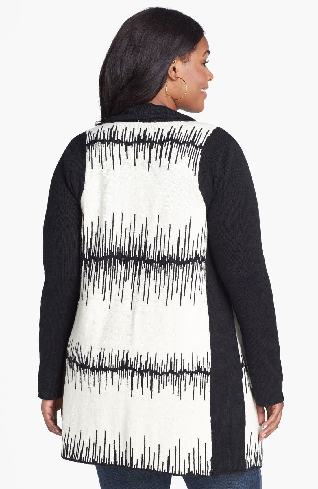 Alternate Image 2  - BB Dakota Patterned Cardigan (Plus Size)