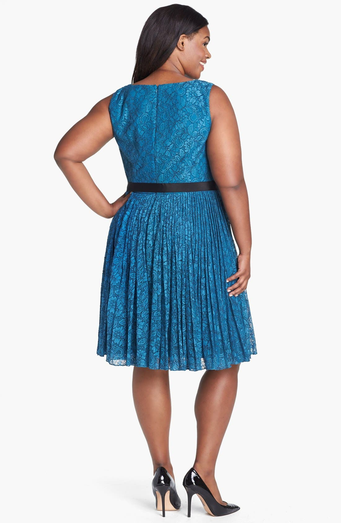 Alternate Image 2  - Adrianna Papell Lace Fit & Flare Dress (Plus Size)