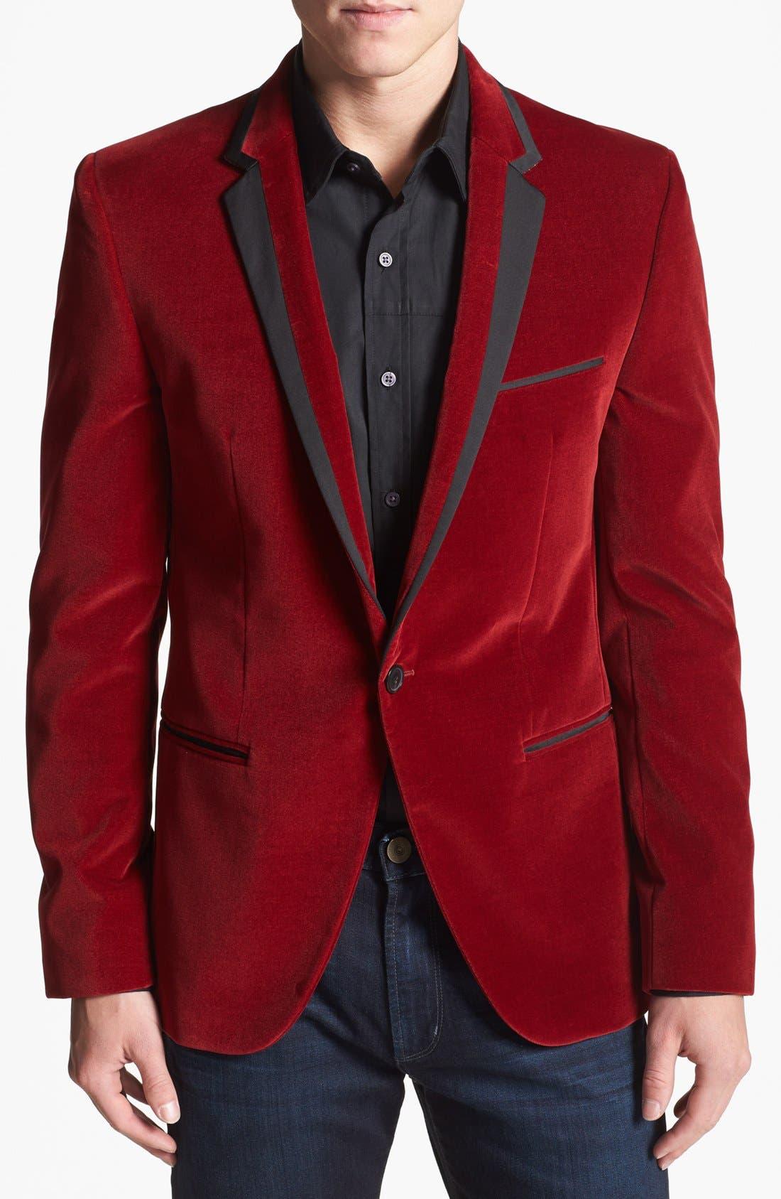 Alternate Image 1 Selected - HUGO 'Askell' Trim Fit Velvet Dinner Jacket