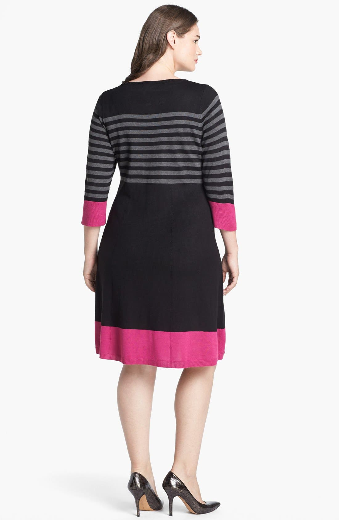 Alternate Image 2  - Eliza J Fit & Flare Sweater Dress (Plus Size)