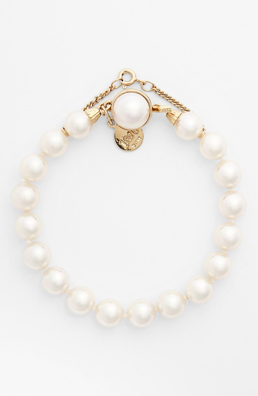 8mm Single Row Pearl Bracelet,                         Main,                         color, White/ Gold