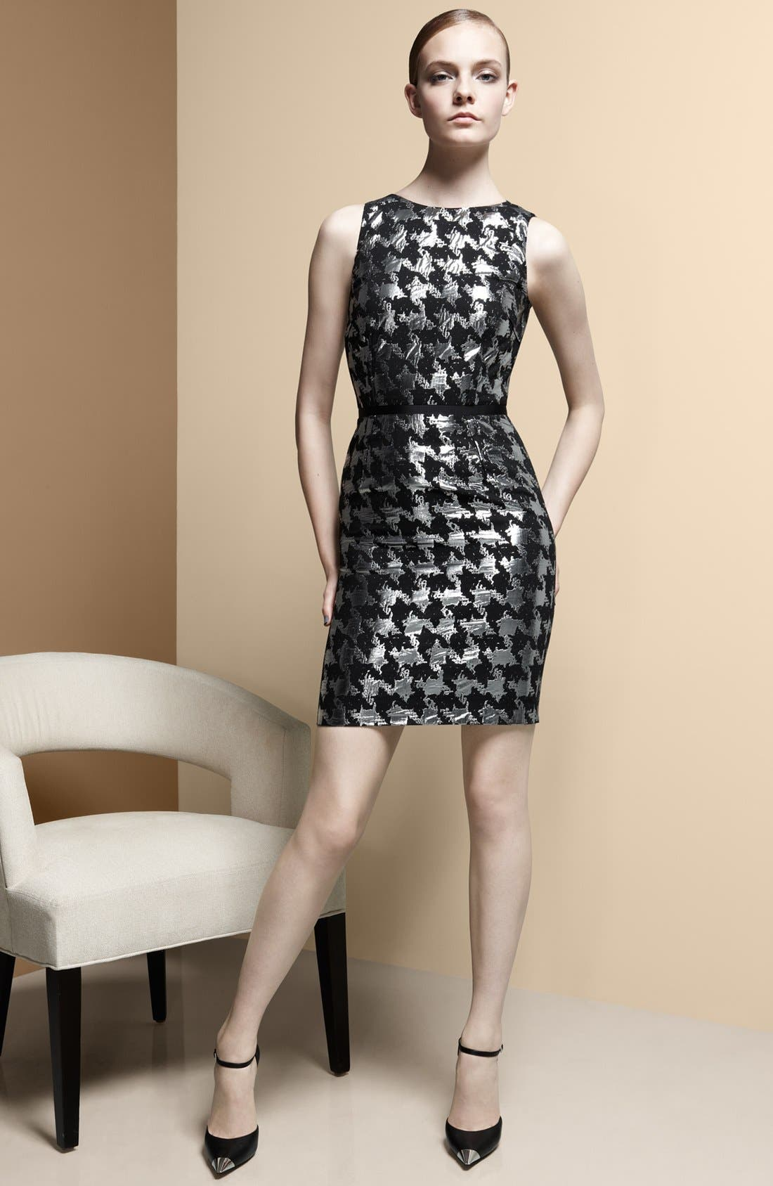 Alternate Image 4  - Michael Kors Metallic Houndstooth Sheath Dress