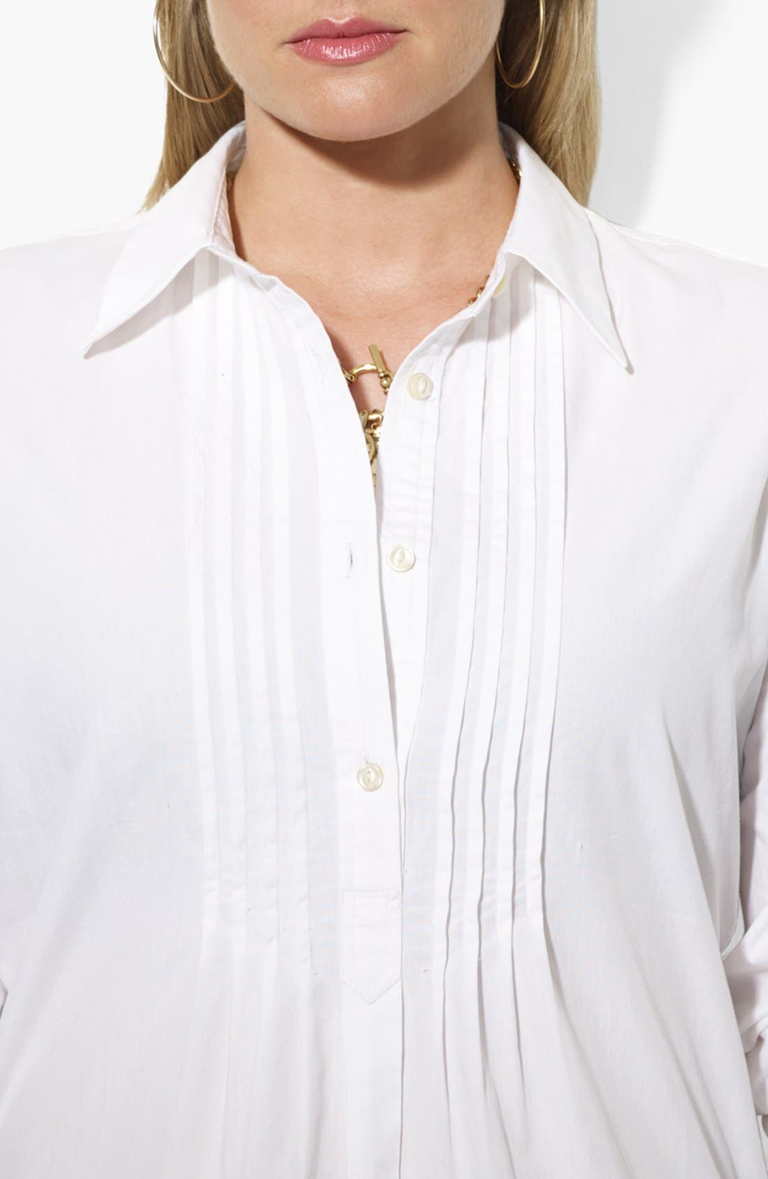 Alternate Image 3  - Lauren Ralph Lauren Cotton Shirt (Plus Size)