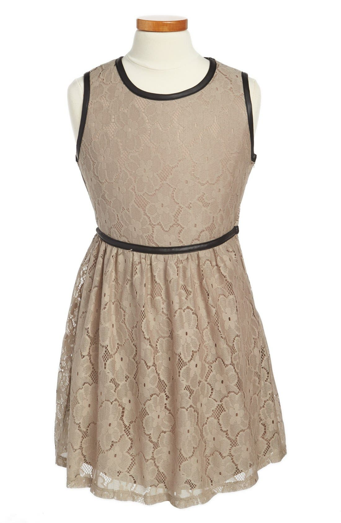 Main Image - Mia Chica Lace and Faux Leather Dress (Big Girls)