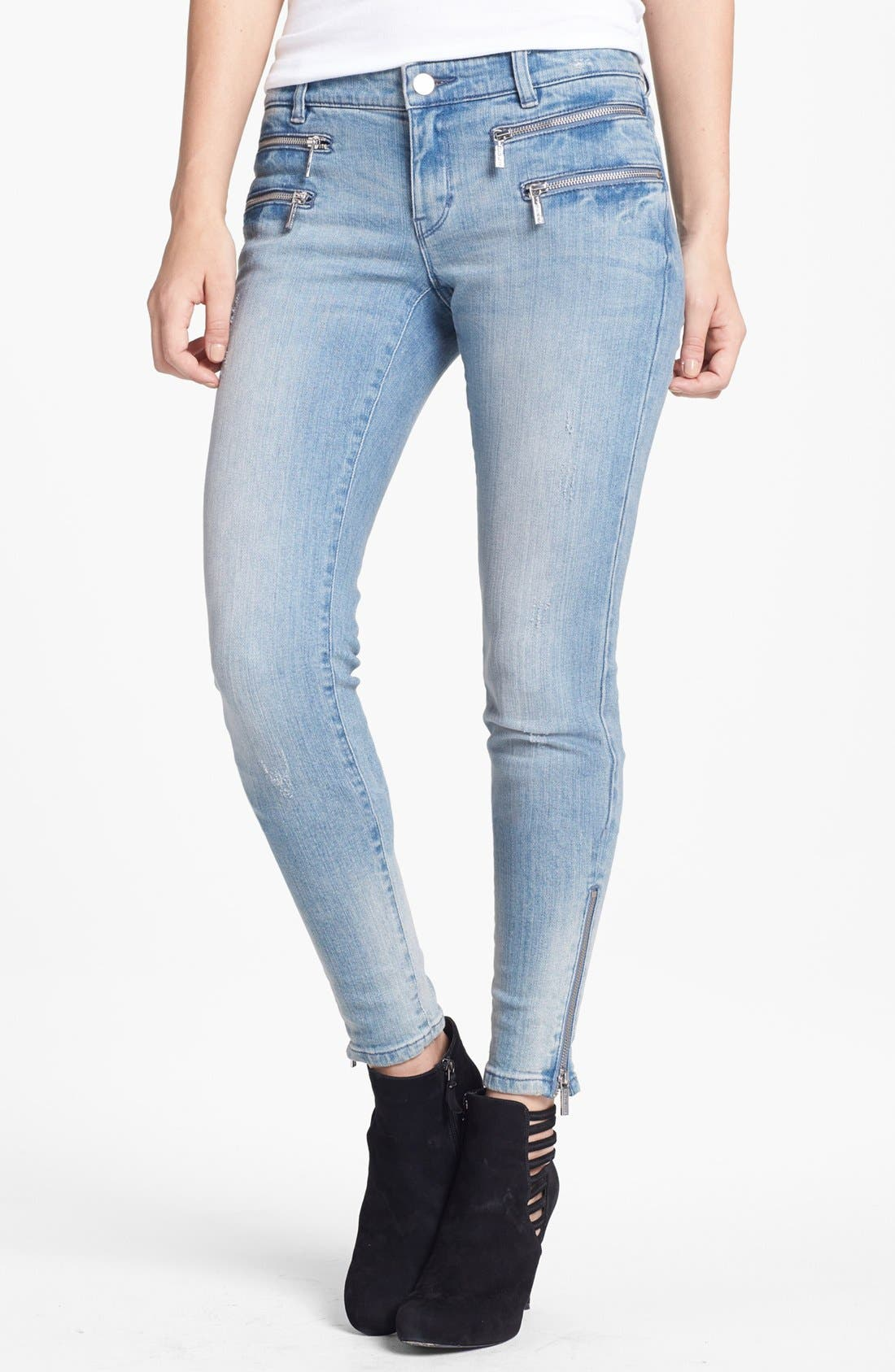 Alternate Image 1 Selected - MICHAEL Michael Kors Zip Detail Skinny Jeans (Village Blue)