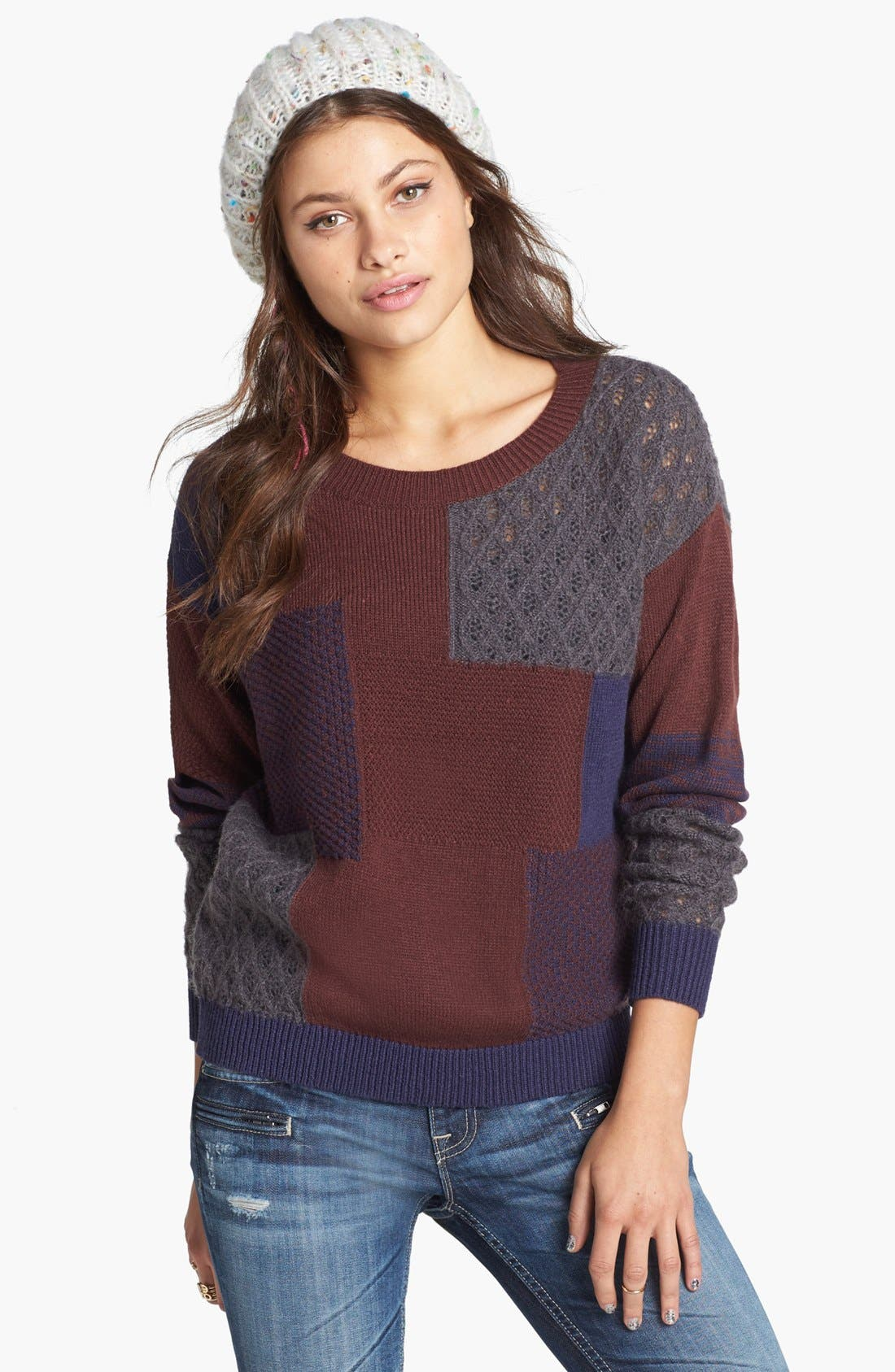 Alternate Image 1 Selected - Rubbish® Mixed Pattern Sweater (Juniors)