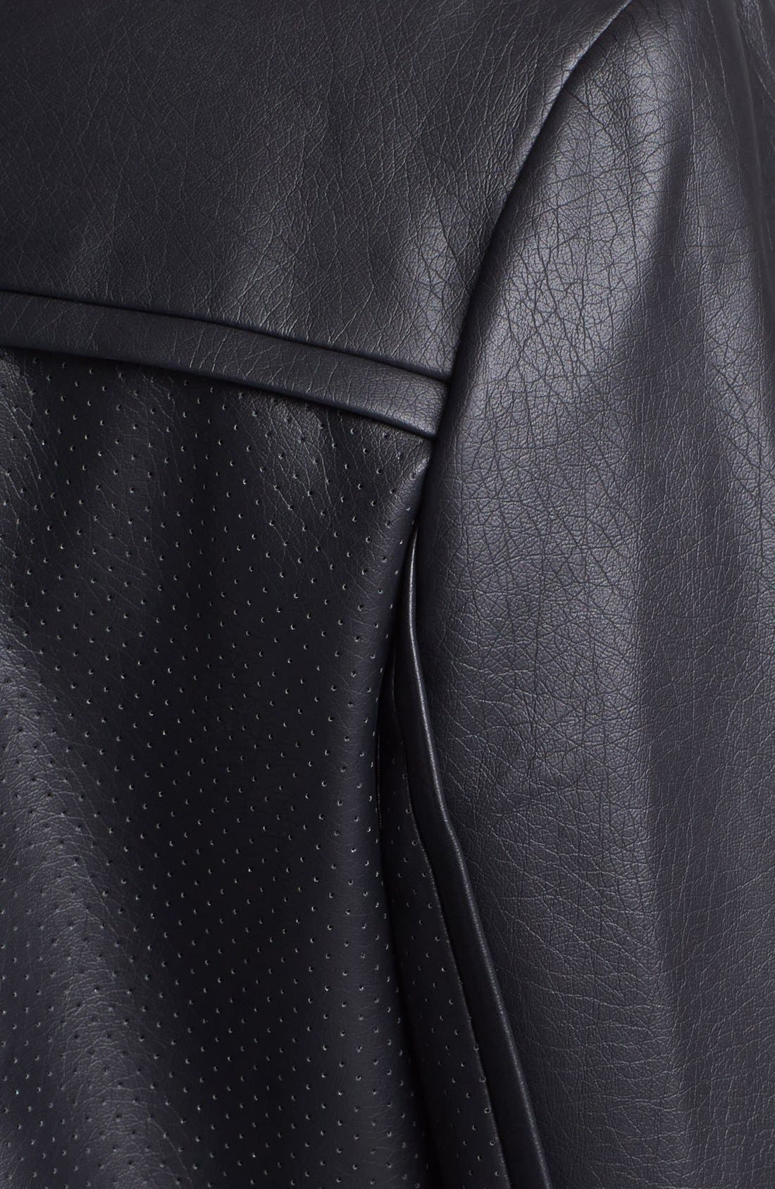 Alternate Image 3  - Vince Camuto Collarless Perforated Faux Leather Jacket