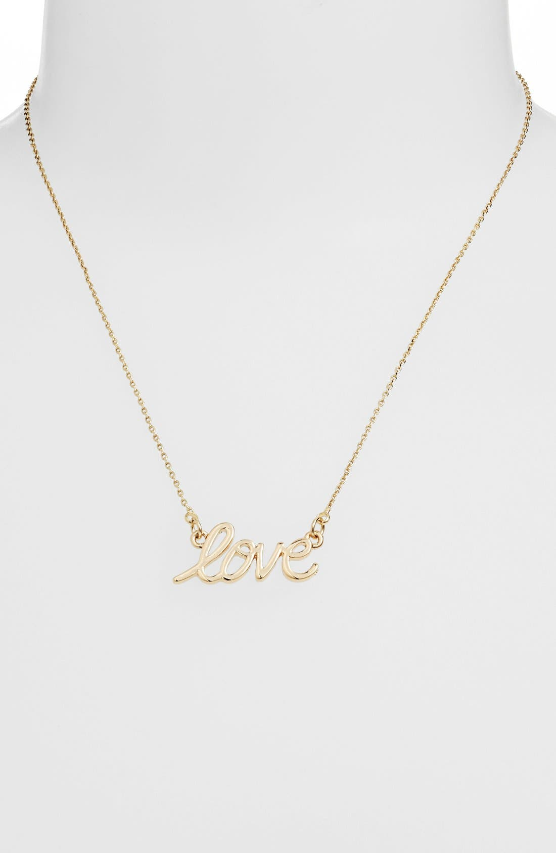 Alternate Image 1 Selected - Stephan & Co. 'Love' Script Necklace (Juniors)