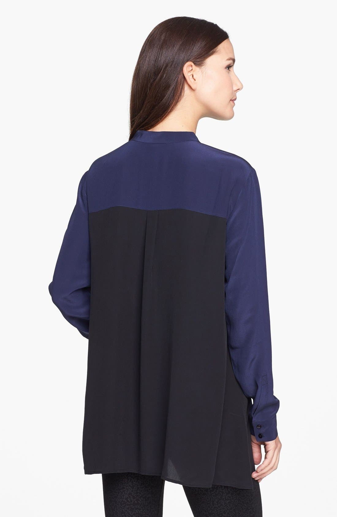 Alternate Image 2  - Eileen Fisher Mandarin Collar Silk Shirt (Online Exclusive)
