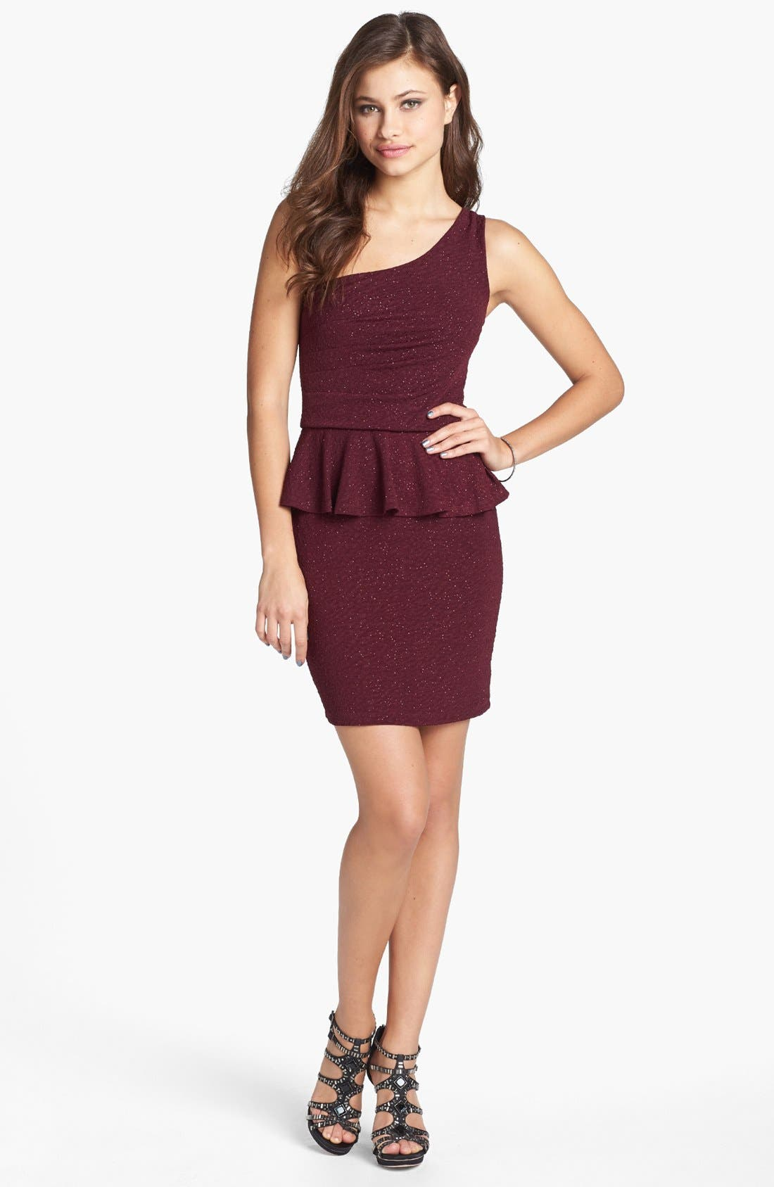 Alternate Image 1 Selected - Trixxi Sparkly Knit Peplum Dress (Juniors) (Online Only)