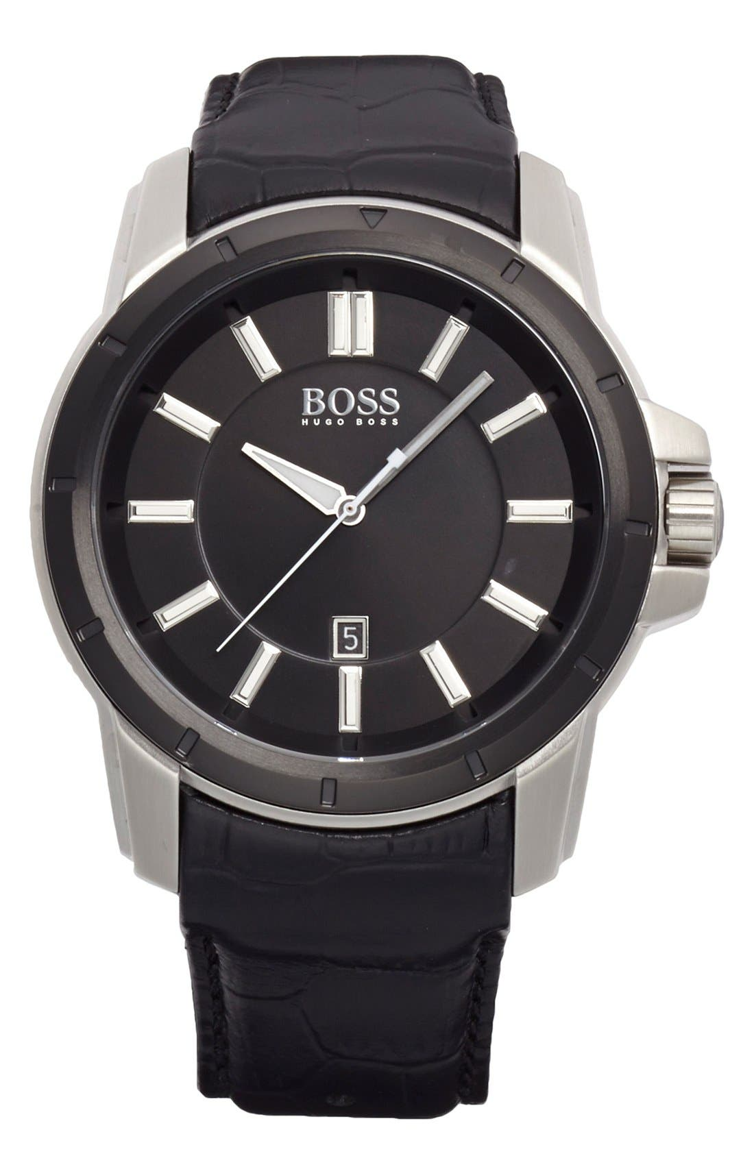 Main Image - BOSS Round Leather Strap Watch, 46mm