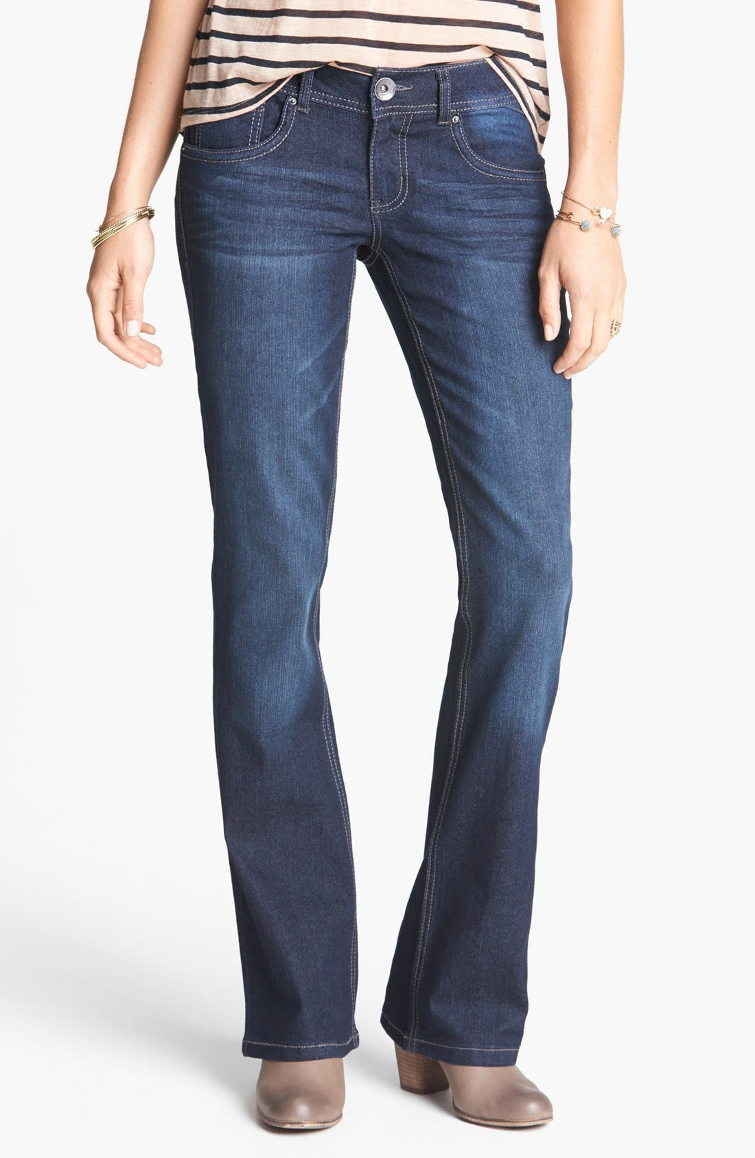 Alternate Image 1 Selected - Jolt Embroidered Pocket Bootcut Jeans (Juniors)