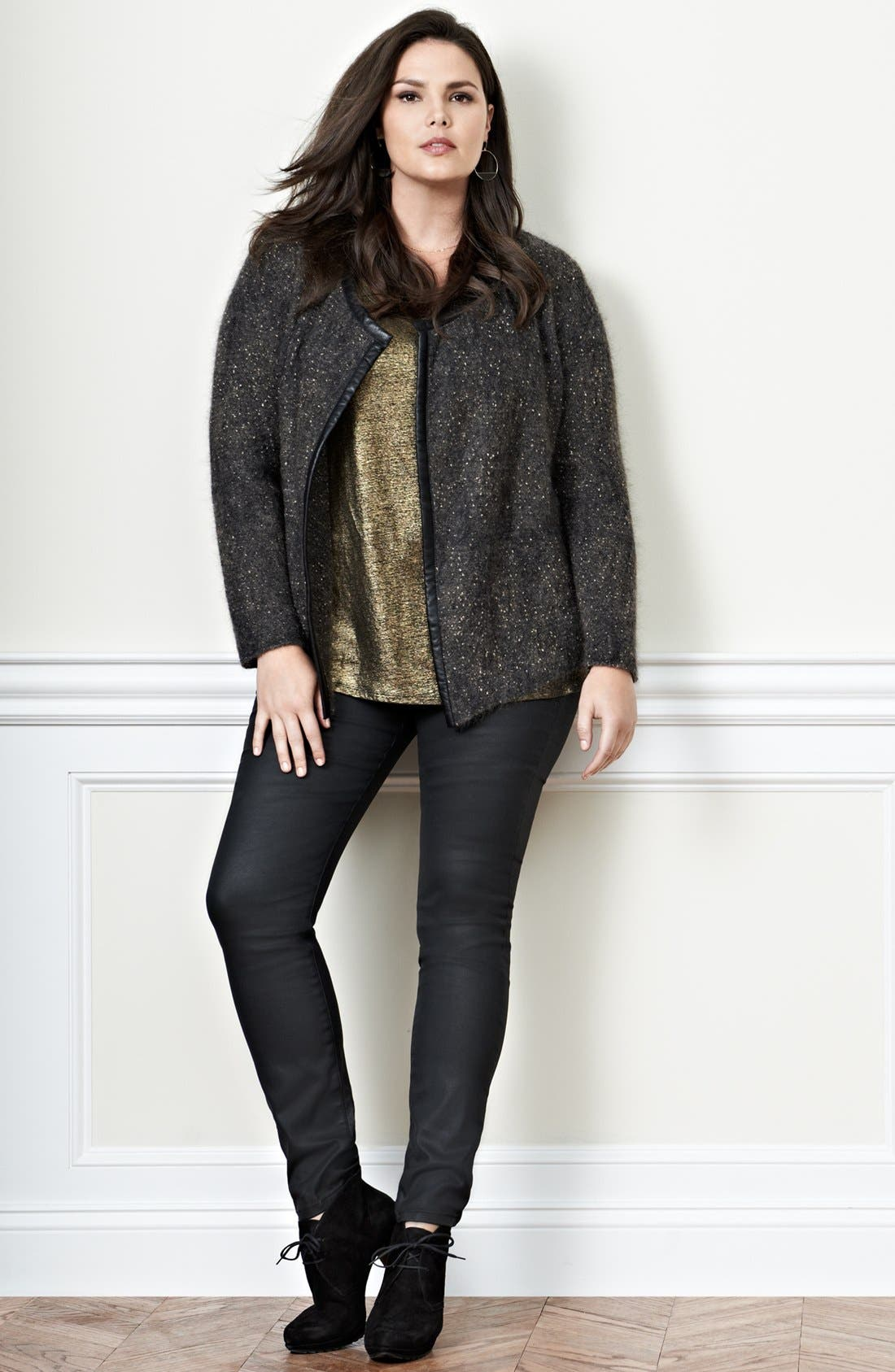 Alternate Image 4  - Eileen Fisher Leather Trim Jacket (Plus Size)