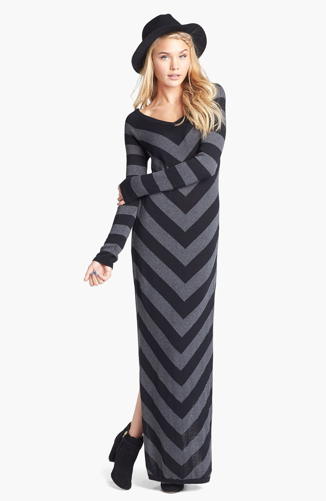 Alternate Image 1 Selected - Rubbish® Stripe V-Neck Sweater Maxi Dress (Juniors)