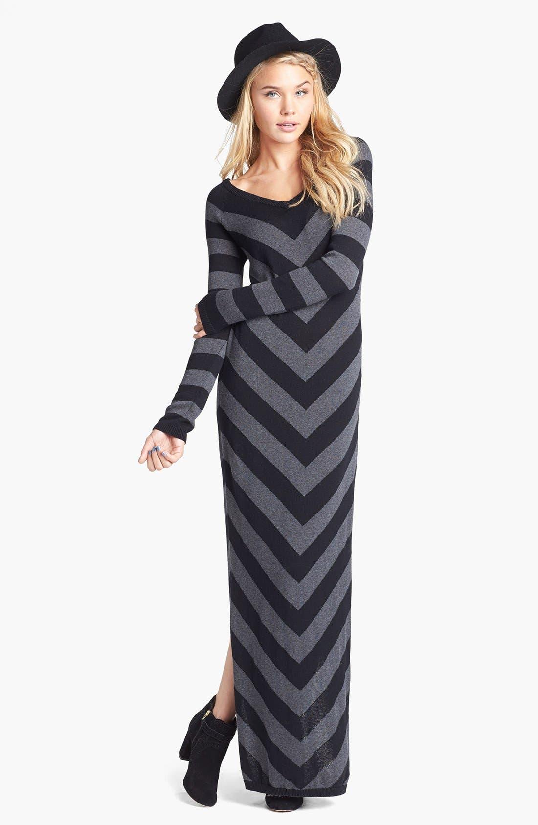 Stripe V-Neck Sweater Maxi Dress,                         Main,                         color, Mitered Stripe Black