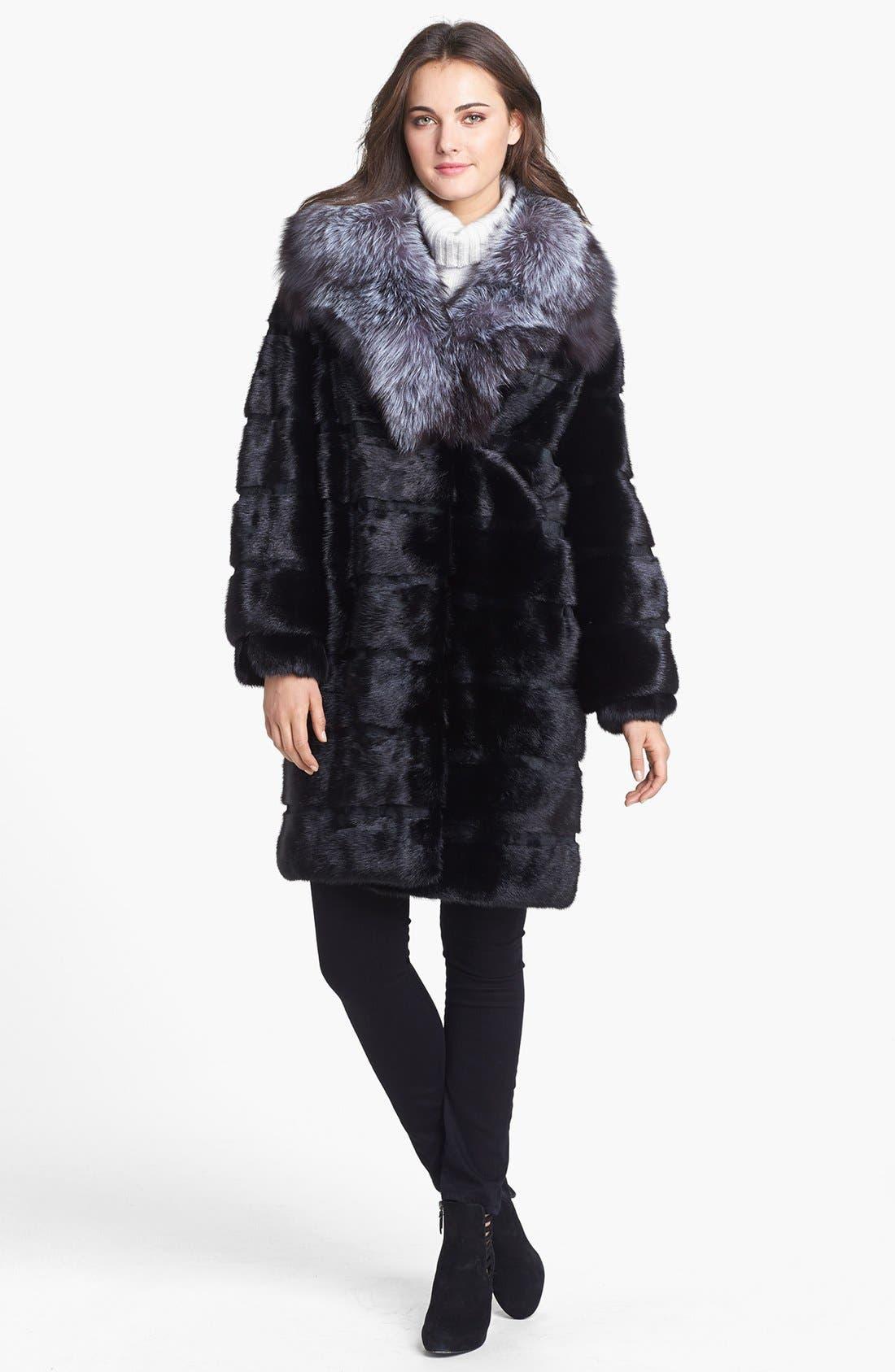 Alternate Image 1 Selected - Belle Fare Genuine Mink & Fox Fur Coat