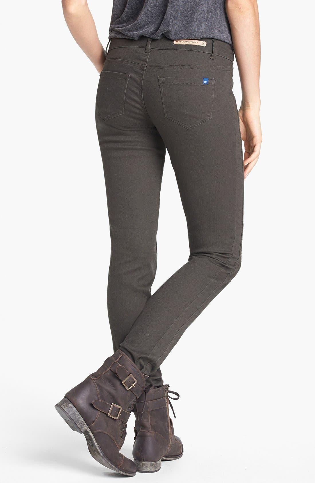 Alternate Image 2  - INSTANT VINTAGE Moto Skinny Jeans (Army Green) (Juniors) (Online Only)