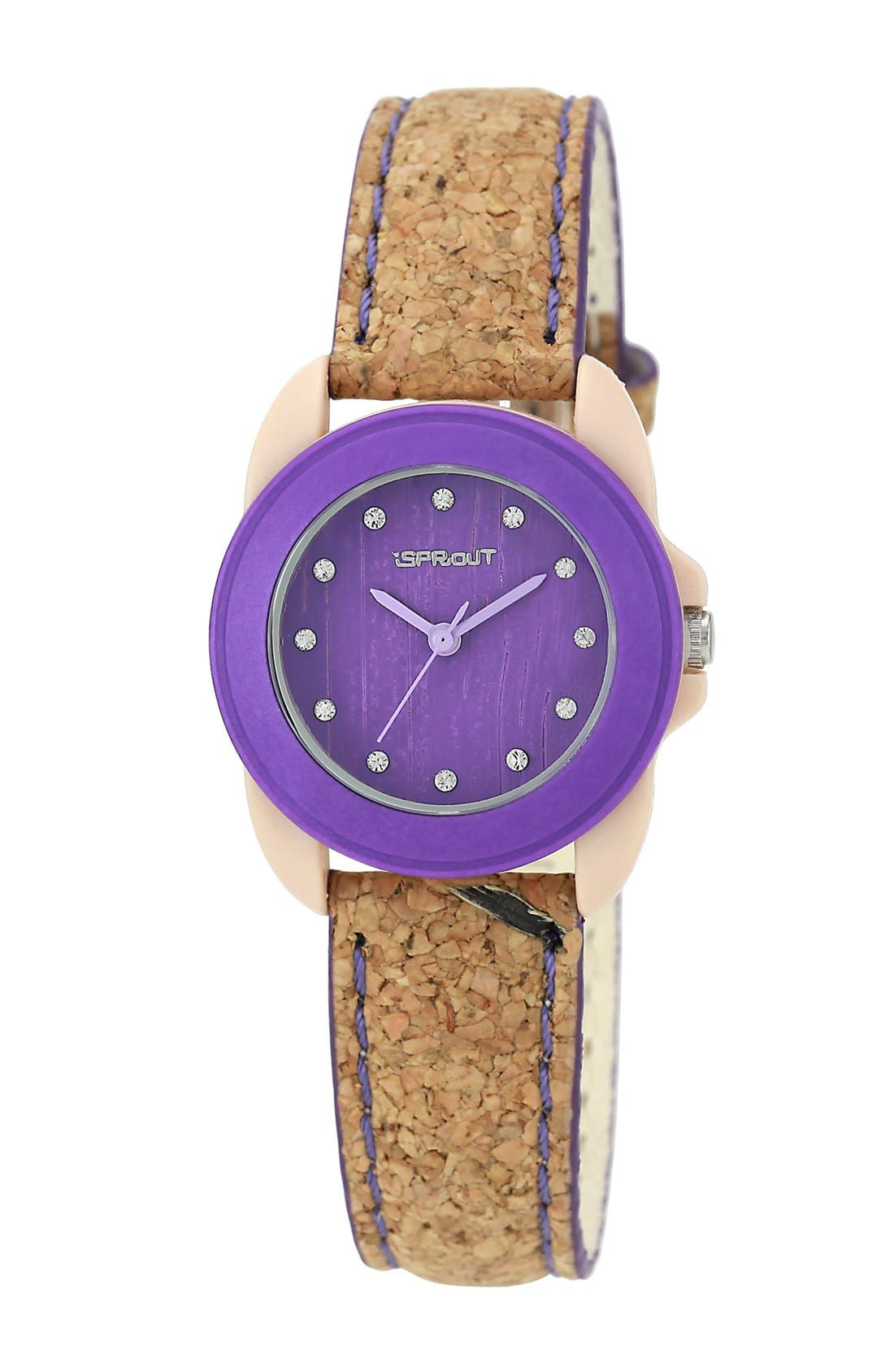 Alternate Image 1 Selected - SPROUT™ Watches Color Bamboo Dial Cork Strap Watch, 22mm