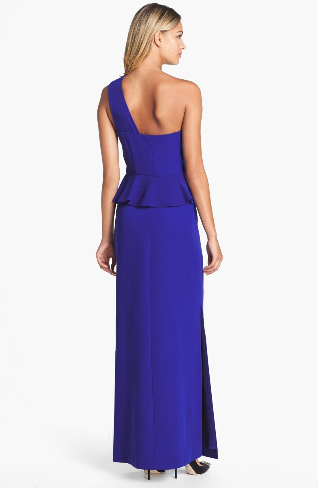 Alternate Image 2  - Laundry by Shelli Segal One-Shoulder Peplum Gown