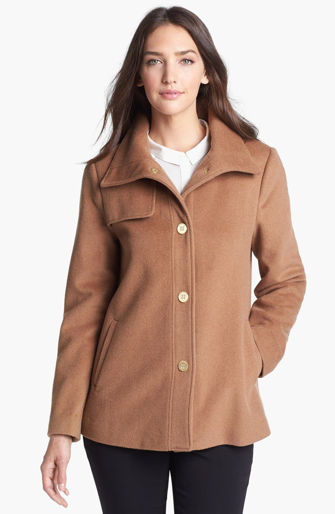 Main Image - Ellen Tracy Snap Front Wool Blend A-Line Coat (Petite) (Online Only)